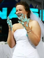 Stephanie Florio, a 24-year-old Long Island native, downed nine cakes and won the $25,000 prize.