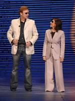David Caruso and Nina Tassler at last year's CBS upfront presentation.