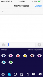 Screenshot of the emoji keyboard available in Google Play and Apple's App Store