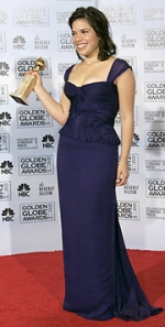 'Ugly Betty' actress America Ferrera showed up at the Golden Globes in a dress by Brian Reyes, 'and now everyone is asking who Brian Reyes is,' one media exec said.