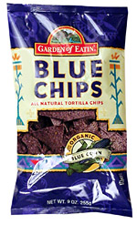 There are roughly nine servings in each bag of Hain Celestial's Garden of Eatin' blue corn chips, so an entire bag would equate to roughly 1,260 calories.