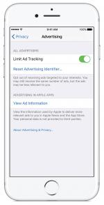 Apple's iOS10 Limit Ad Tracking feature