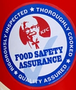 KFC has distributed safety stickers for all of its outlets to use on product buckets.