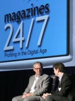 Josh Quittner, editor, 'Business 2.0,' interviews Fred Wilson, partner, Union Square Ventures, about emerging business models for magazines in the digital age at MPA's 'Magazines 24/7' digital conference.