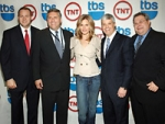 The Turner Upfront presentation, from left: Mark Lazarus, Turner Entertainment Group president; Phil Kent, chairman-CEO of Turner Broadcasting System; Kyra Sedgwick, star of TNT's 'The Closer'; David Levy, president of Turner Entertainment Ad Sales and Marketing and president of Turner Sports; and Steve Koonin, exec VP-chief operating officer for TBS and TNT.