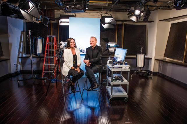 Kristin Patrick and Brad Jakeman inside PepsiCo's Creators League studio in 2016.