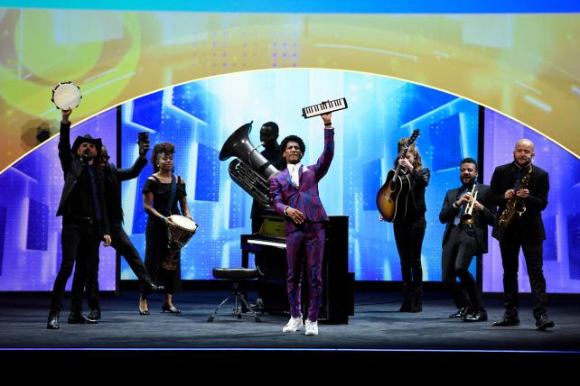 Jon Batiste and Stay Human from 'The Late Show With Stephen Colbert' perform during CBS' upfront presentation at Carnegie Hall.