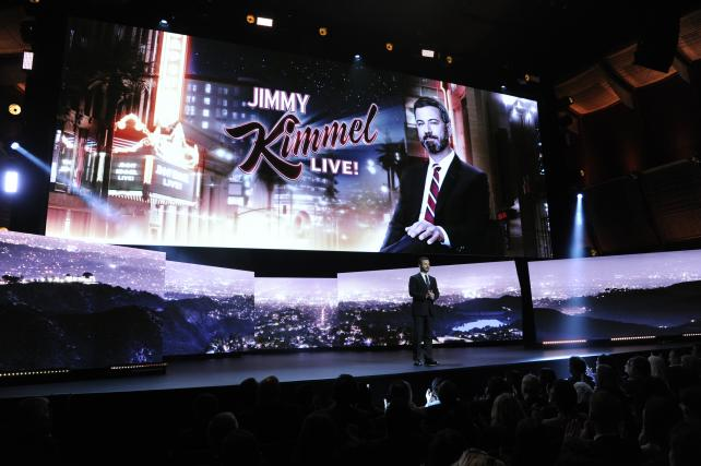Jimmy Kimmel at ABC's upfronts pitch, incorporating the Freeform network for the first time.