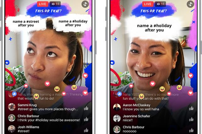 Facebook's camera effects can play with live video, too.