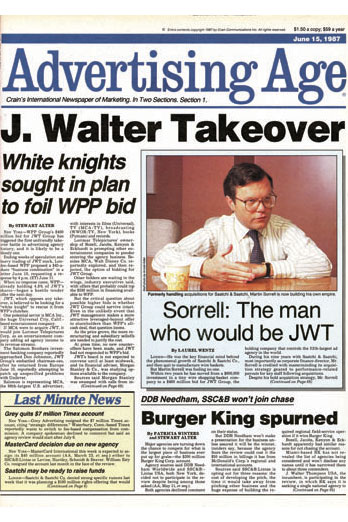 The front page of Ad Age on June 15, 1987 screams of the J. Walter Thompson takeover bid from WPP.