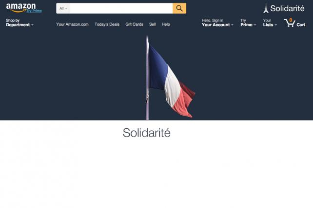 Amazon's homepage was reconfigured over the weekend to stand in solidarity against the attacks in Paris on November 13, 2015.