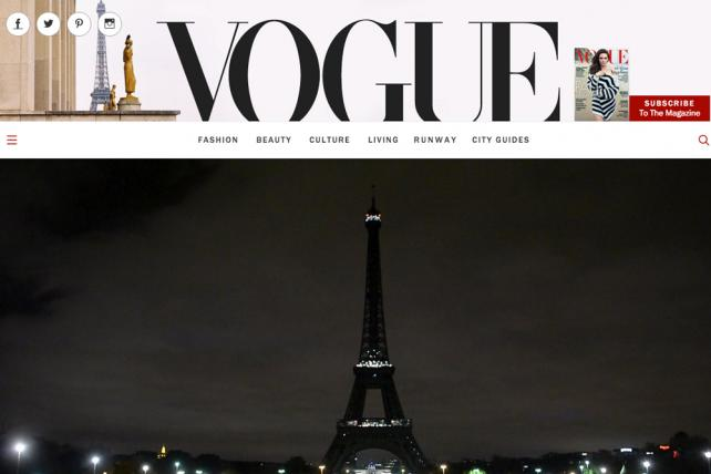 Vogue's homepage was among media brands standing in solidarity with France in the wake of terrorist attacks in Paris on November 13, 2015.