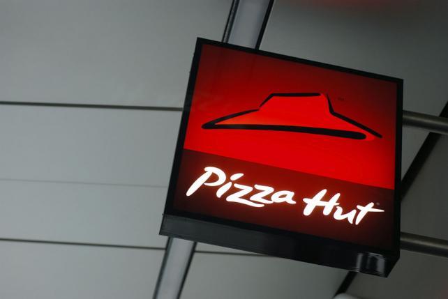 Pizza Hut sign.