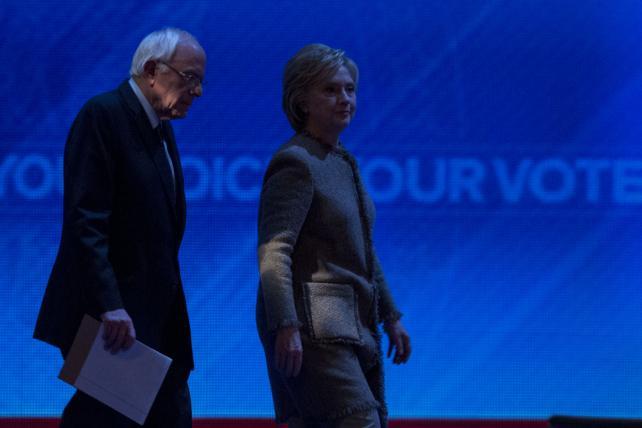 2016 Democratic presidential candidates Senator Bernie Sanders and Hillary Clinton, former Secretary of State.