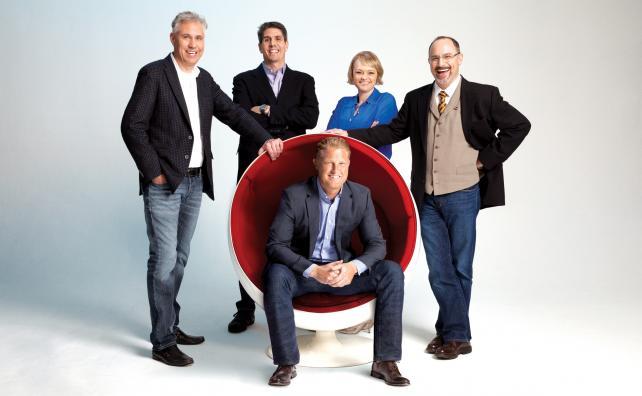 (From l.) Eric Healy, Drew Kurth, Tammy Soares, Scott Sorokin and, seated, Tom Adamski