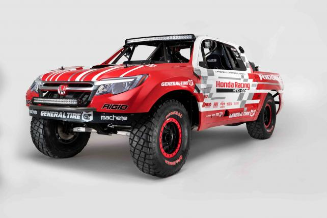 Honda revealed the Ridgeline Baja Race Truck in November that is build for racing but also provides an early glimpse at the styling direction for the all-new 2017 Honda Ridgeline pickup.