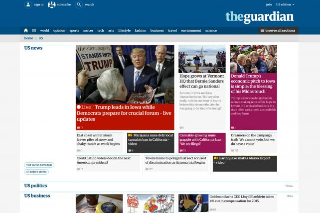 The Guardian's branded content division contributes 40% of its U.S. revenue, according to Guardian U.S. CEO Eamonn Store.