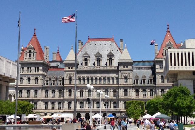 The New York State capitol building in Albany, N.Y.