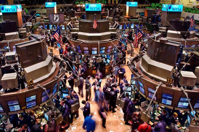 The New York Stock Exchange trading floor.