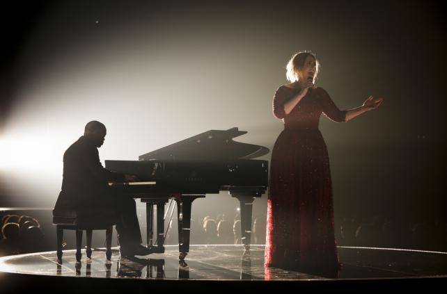 Adele performs at the Grammys.