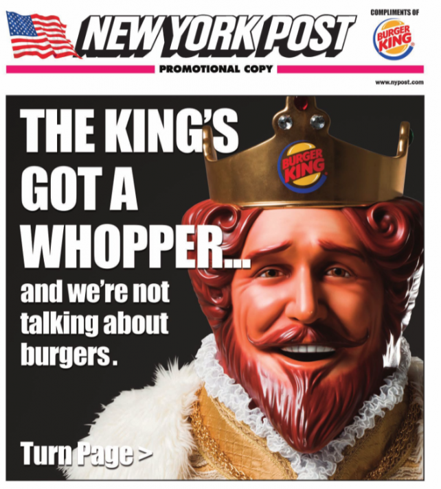 Newspaper ad wrap for the New York Post on February 23, 2016, Burger King's grilled hot dog launch day.