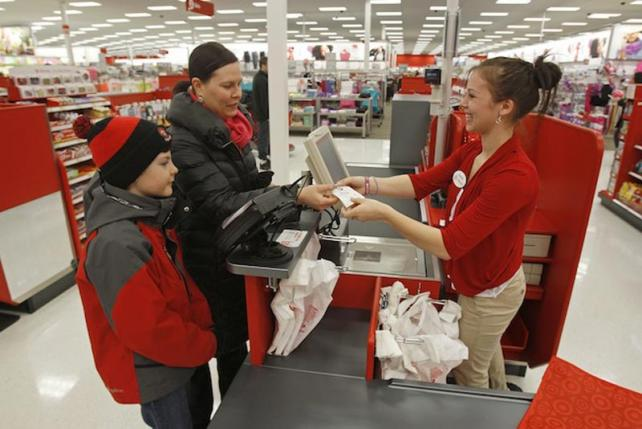 Customers checking out at a Target store.