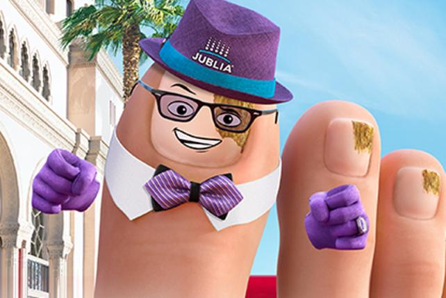 Jublia's commercials and marketing utilize cartoon characters.