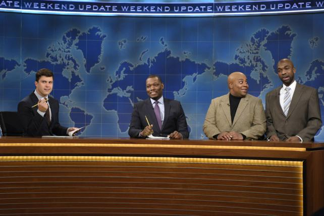 'Saturday Night Live': (from l.) Colin Jost, Michael Che, Kenan Thompson as Charles Barkley and Jay Pharoah as Shaquille O'Neal during a Weekend Update segment this month.