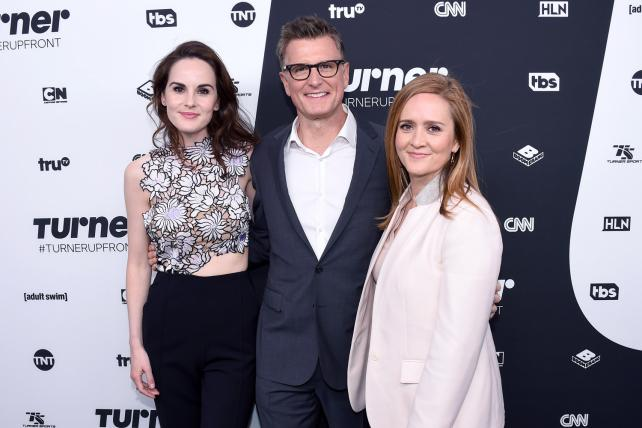 Michelle Dockery, who stars in TNT's new 'Good Behavior'; TNT/TBS President Kevin Reilly; and Samantha Bee, who said it was fortunate that TBS began her political satire show during 'this peyote hallucination of an election.'