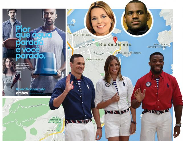 (Clockwise) Olympics ad created by Ambev; Savannah Guthrie, LeBron James; U.S. team Olympic uniforms created by Ralph Lauren.