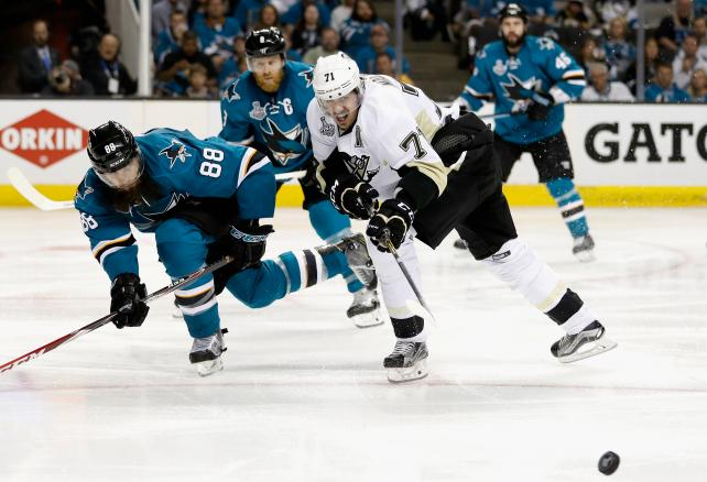 Evgeni Malkin #71 of the Pittsburgh Penguins takes a shot in front of Melker Karlsson #68 of the San Jose Sharks during the third period of Game 6 of the 2016 NHL Stanley Cup Final at SAP Center on June 12, 2016