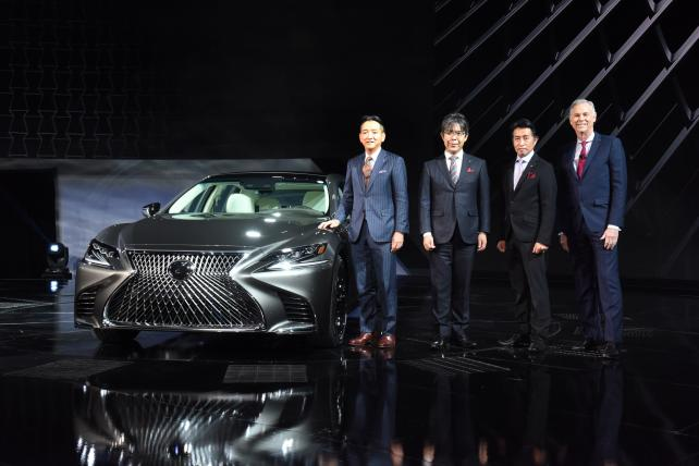 Jeff Bracken (far right), group VP and general manager-Lexus Division, introduces the 2018 Lexus LS at the North American International Auto Show on Monday, Jan. 9, 2017, in Detroit.