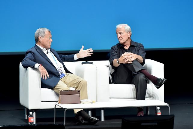 Martin Sorrell jousts with Ken Auletta onstage at Cannes