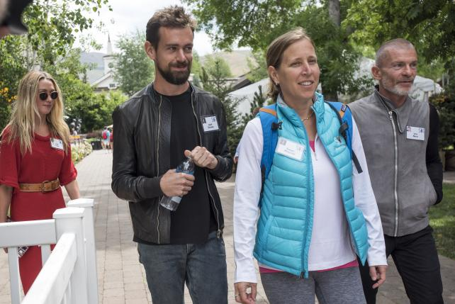 Jack Dorsey, interim CEO and co-founder of Twitter, and YouTube CEO Susan Wojcicki, at the Allen & Co. Media and Technology Conference in Sun Valley, Idaho, in July, 2015.