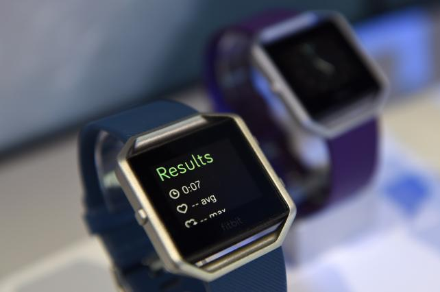 A Fitbit Blaze fitness tracker is displayed during the 2016 Consumer Electronics Show in Las Vegas.