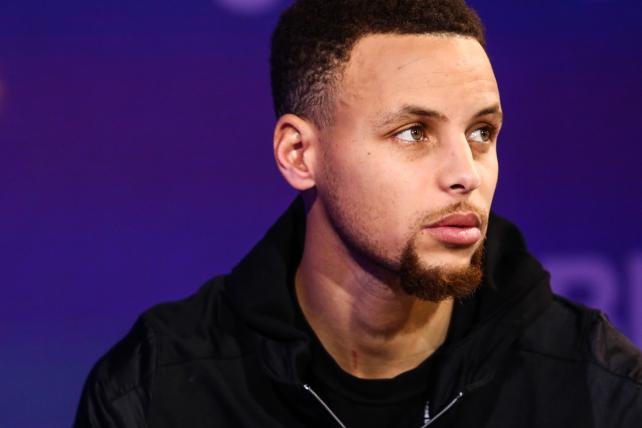 Golden State Warriors star Stephen Curry during an interview on Bloomberg TV.