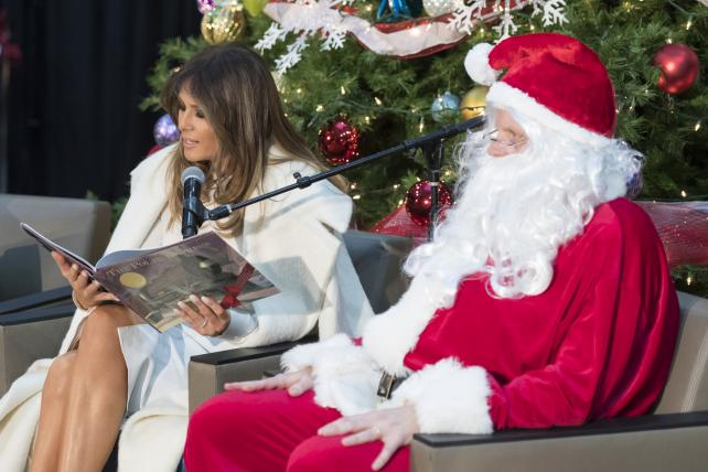 First Lady Melania Trump visits with children for Christmas at Children's National Hospital.