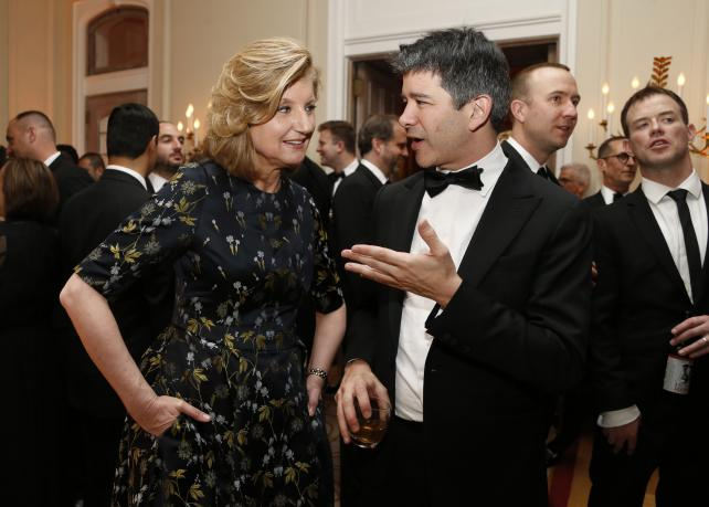 Arianna Huffington, co-founder and editor-in-chief of the Huffington Post, and Travis Kalanick, co-founder and CEO of Uber Technologies, attend the Bloomberg Vanity Fair White House Correspondents' Association dinner afterparty in Washington, D.C., on Apr
