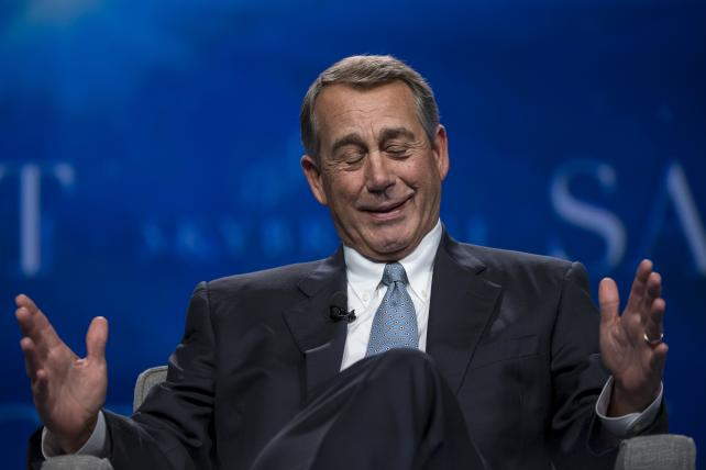 John Boehner, former U.S. House Speaker, speaks during the Skybridge Alternatives conference in Las Vegas on May 12, 2016.