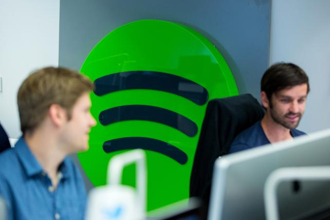Spotify employees work inside the music streaming company's offices in Berlin last month.