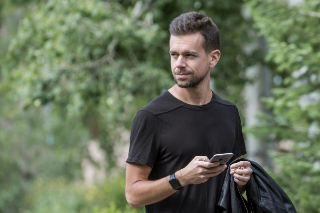 Jack Dorsey, co-founder and CEO of Twitter, walks the grounds during the Allen & Co. Media and Technology Conference in Sun Valley, Idaho, last week.