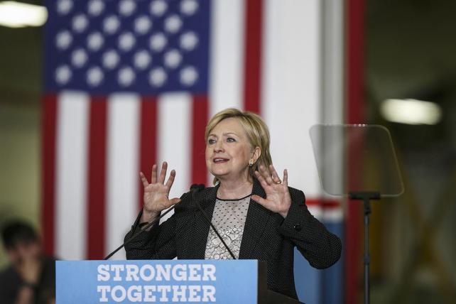 Hillary Clinton, shown at a campaign event on Aug. 11 in Warren, Michigan, aimed addressable TV ads to specific New York households during the primary season.
