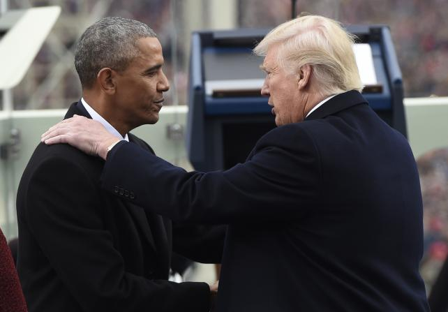 Barack Obama shakes hands with Donald Trump during the 58th presidential inauguration in Washington, D.C., on Friday, Jan. 20, 2017.
