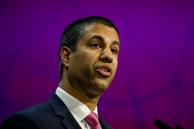 Ajit Pai, chairman of the Federal Communications Commission, delivers a speech at Mobile World Congress in Barcelona, Spain, in February.
