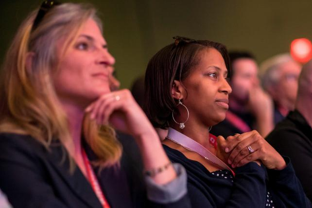 Attendees listen as Senator Cory Booker, a Democrat from New Jersey, speaks during the 2017 South By Southwest Conference in Austin, Texas, on Friday. Politics is looming large from the outset.