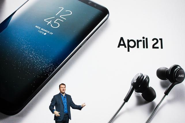Justin Denison, senior VP-marketing for Samsung Electronics, speaks during the Samsung Unpacked event in New York on Wednesday.