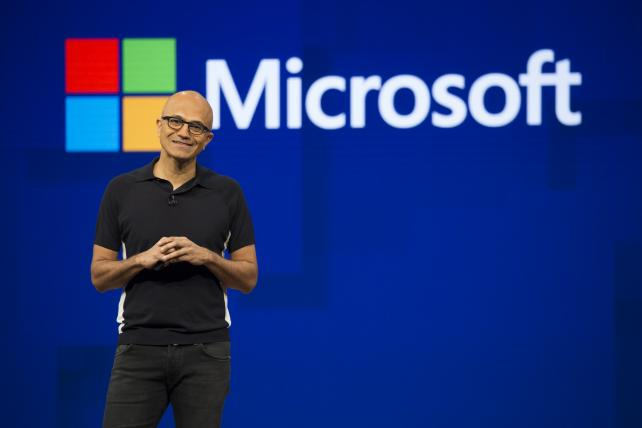Microsoft CEO Satya Nadella smiles during the Microsoft Developers Build Conference in Seattle on May 10.