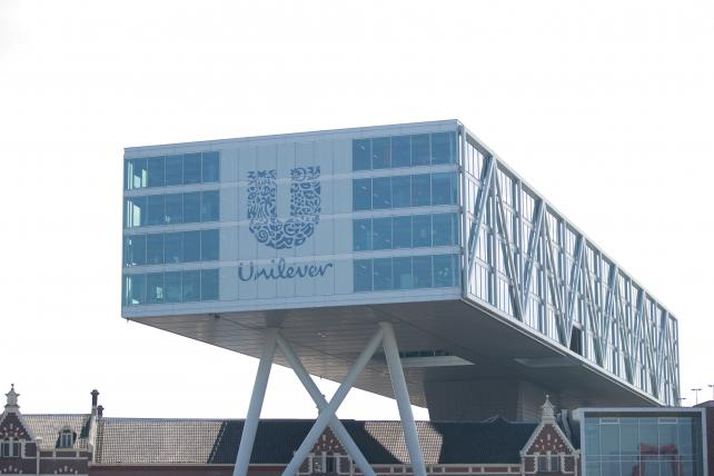 The Unilever logo sits on the Unilever NV headquarter offices in Rotterdam, Netherlands.