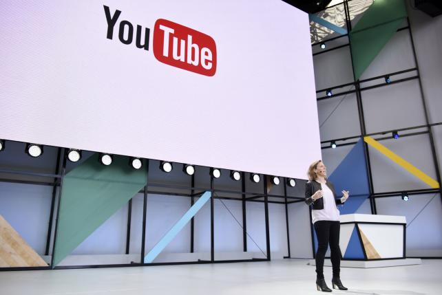 Susan Wojcicki, CEO of YouTube, speaks during the Google I/O Annual Developers Conference in Mountain View, on May 17, 2017.
