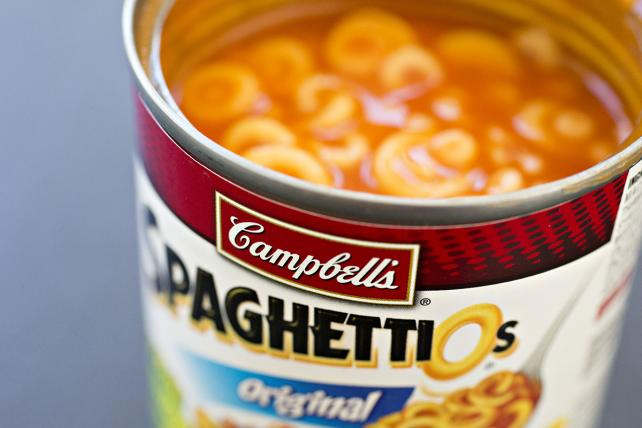 A can of Campbell Soup Co. SpaghettiOs brand pasta